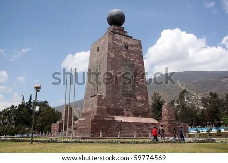 Monument Mitad del Mundo near Quito in Ecuador - stock photo