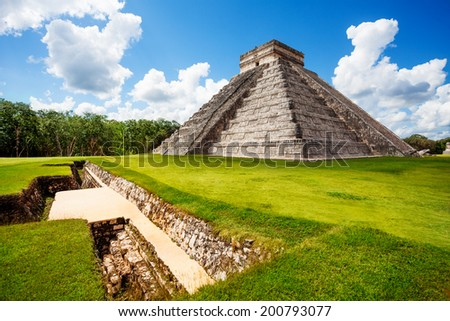 Monument of Chichen Itza during summer in Mexico - stock photo