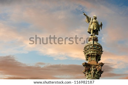 Monument of Christopher Columbus pointing towards America during golden sunset in Barcelona, Catalonia, Spain - stock photo