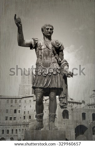 Monument of Julius Cesar.  Picture taken from the street in Rome, Italy.  Roman forum in backgroung.  Black and white picture with texture. - stock photo