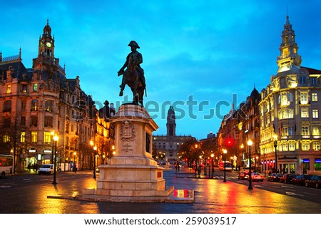 Monument of King Peter IV at Liberty or Freedom Square in Porto, Portugal  - stock photo