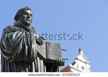 Monument of Martin Luther. It was the first public monument of the reformer, designed 1821 by J. G. Schadow, Wittenberg. Luther was a monk, theologian and the translator of the bible into German. - stock photo