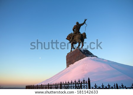 Monument of Salawat Yulaev in Ufa, Russia - stock photo