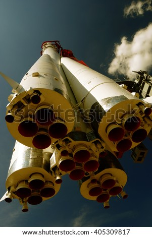 monument of space rocket Vostok-1 (Moscow, Russia) with bicolor filter  - stock photo