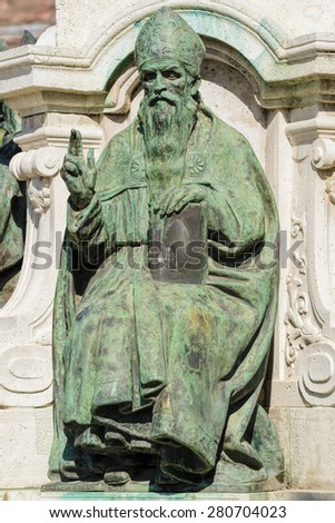 Monument of St. Adalbert in the City of Szekesfehervar, Hungary - stock photo
