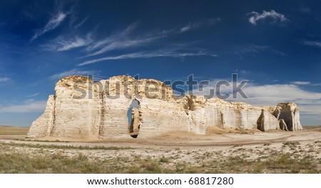 Monument Rocks limestones formations in Kansas - stock photo