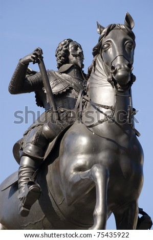 Monument statue of King Charles I of England, Scotland and Ireland (1600-1649). On display in Trafalgar Square, Westminster for over 100 years. Charles the First was beheaded in England's Civil War. - stock photo