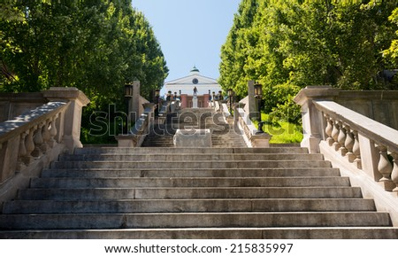 Monument Terrace designed in 1925 as series of steps and memorials up to Courthouse in Lynchburg Virginia - stock photo