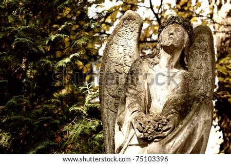Monument to an angel on a cemetery. Since its creation in 1787 Lychakiv Cemetery Lvov, Ukraine - stock photo