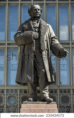 Monument to Cornelius Vanderbilt before Grand Central Station in memory as the Founder of the New York Central LInes. - stock photo