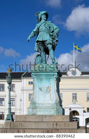 Monument to swedish king Gustav II Adolf in Gothenburg, Sweden - stock photo
