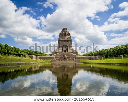 Monument to the Battle of the Nations (1813) (Voelkerschlachtdenkmal), Leipzig, Germany, designed by German architect Bruno Schmitz (1913)  - stock photo