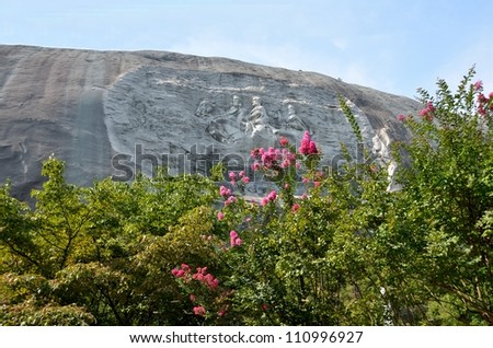 Monument to the Confederacy at Stone Mountain, Georgia showing Jefferson Davis, Generals Robert E. Lee and Stonewall Jackson - stock photo