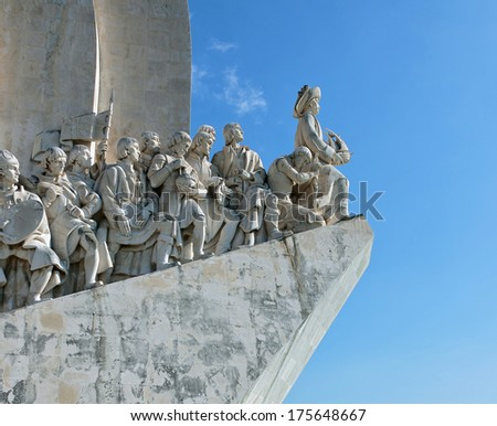 Monument to the Discoveries in Lisbon (Padrao dos Descobrimentos), Portugal - stock photo