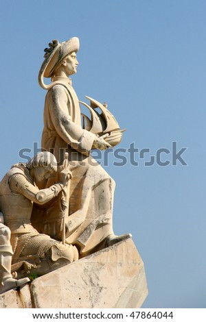 Monument to the Discoveries - located in the Belem district of Lisbon, Portugal - stock photo