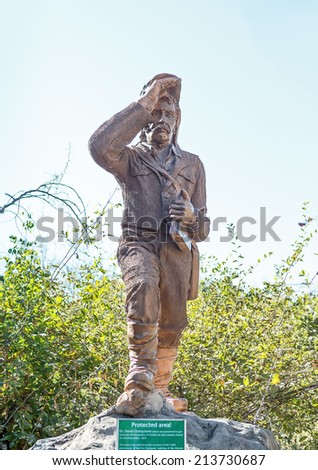 Monument to the Zambezi River Basin researcher Dr. Livingstone near Victoria Falls - Zambia, Zimbabwe - stock photo