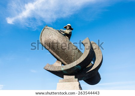 Monument to whale hunters near the port in Tromso, Norway - stock photo