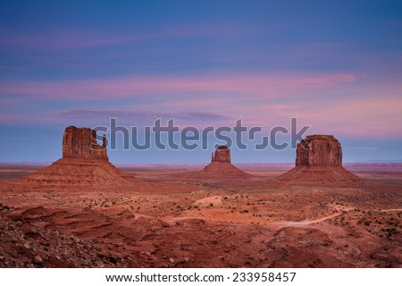 Monument Valley after sunset, Utah, USA - stock photo