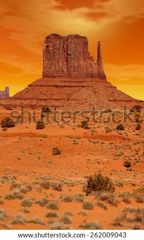 Monument Valley Arizona with evening sunset skies - stock photo