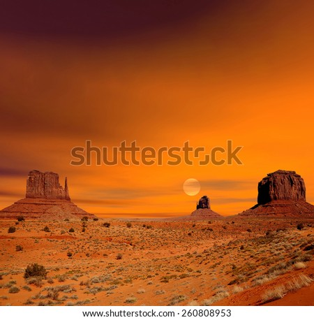 Monument Valley Arizona with with morning sunrise - stock photo