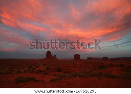 Monument Valley at sun set - stock photo