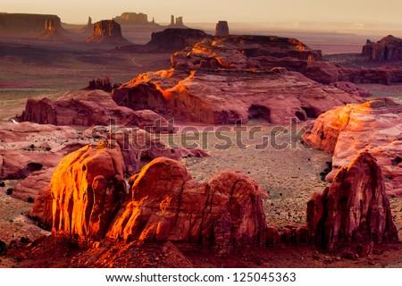 Monument Valley, Hunt's Mesa Landscape - stock photo