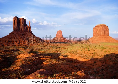 Monument Valley in late afternoon - stock photo