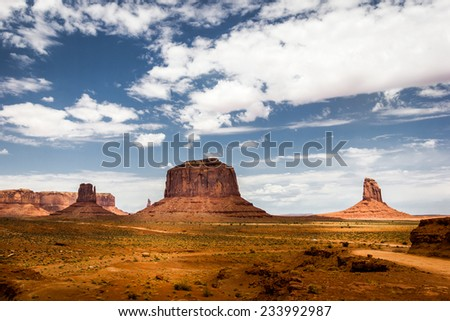 Monument Valley Navajo Tribal Park, mittens and clouds in the blue sky. American Landscape, natural wonder - stock photo