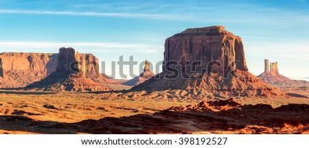 Monument Valley panoramic at sunrise, Arizona - stock photo