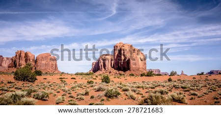 Monument valley under the blue sky - stock photo