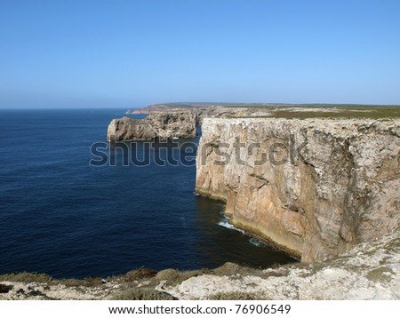 Monumental cliff coast near Cape St  Vincent, Portugal - stock photo