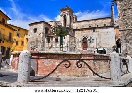 Monumental fountain. Narni. Umbria. Italy. - stock photo