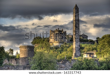 Monuments and observatory on Calton Hill in Edinburgh, Scotland, UK - stock photo
