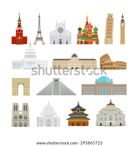 Monuments modern flat icons. Pagoda and Reichstag, Taj Mahal and Leaning Tower of Pisa - stock photo