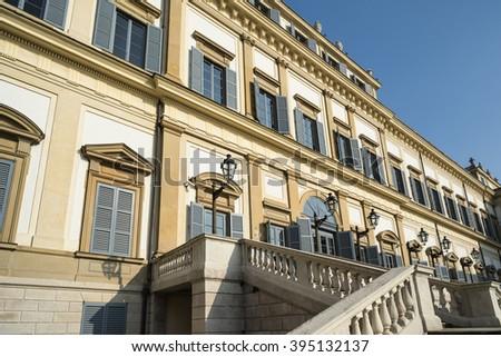 Monza (Brianza, Lombardy, italy): facade of the historic royal palace - stock photo