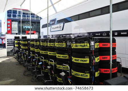 MONZA - SEPTEMBER 11: Racing car tire covers in the paddock on september 11, 2010 in monza, italy, formula 1 - stock photo