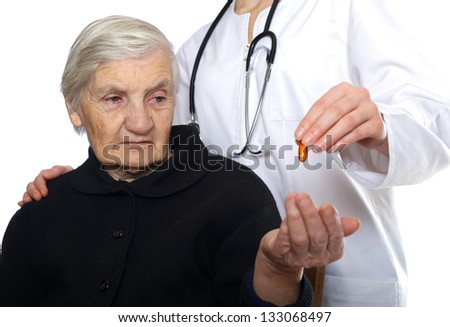 Mood disorder with negative affective symptoms in the case of an elderly woman - stock photo