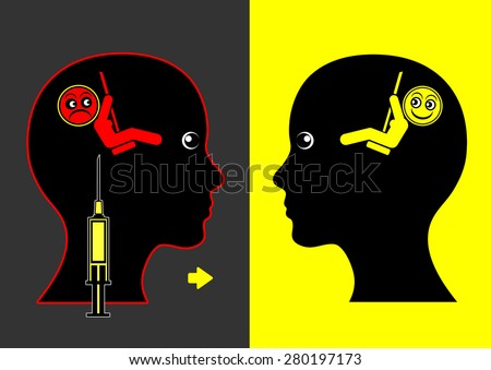 Mood Lifting Drugs. Concept sign of mood enhancing medication against depression and anxiety disorder - stock photo