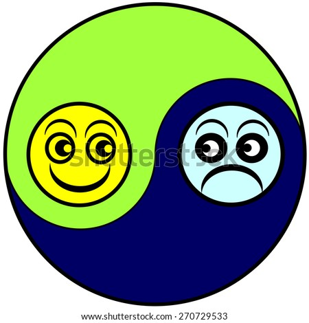 Mood Swings. Alternation of the emotional state between euphoria and depression as part of bipolar disorder or menopause - stock photo