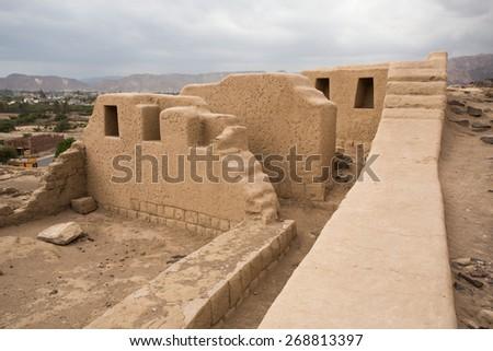 Mood walls of nazca Culture, In Nazca Peru. - stock photo