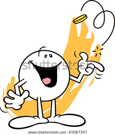 Moodie character, with a happy look, flipping a coin - stock photo
