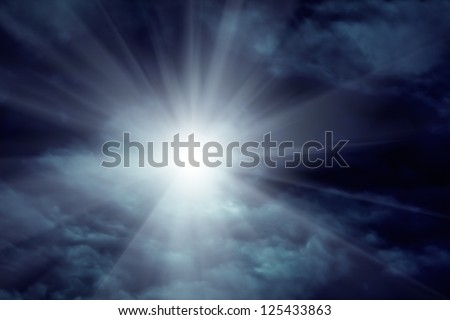 Moody heaven and sun.The dramatic sky clouds scene. - stock photo