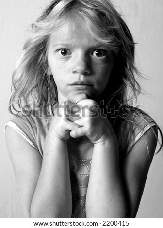 Moody little girl with Bedhead - stock photo