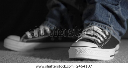 moody shoes, shallow DOF (focus on left toe cap) - stock photo