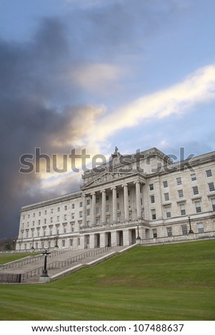 Moody sky over Stormont - stock photo
