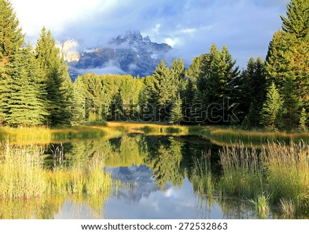 Moody Teton reflection, Wyoming, USA. - stock photo