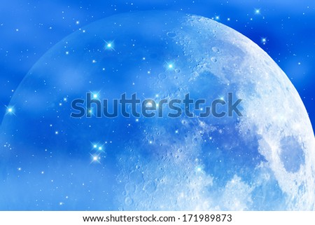 Moon among several hundred stars in deep space. - stock photo