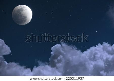 Moon and Cloud at Night - stock photo