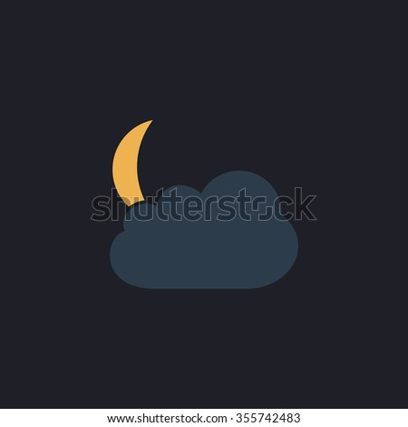 Moon and clouds. Color flat icon on black background - stock photo