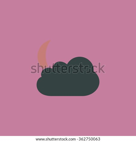 Moon and clouds. Simple flat color icon on colorful background - stock photo